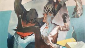 Helfer Lorenz - o.T., Acryl auf Leinwand - Vorlage für Monika Helfer